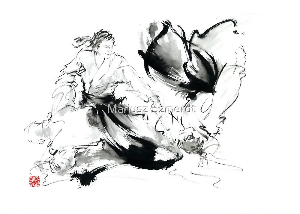 Aikido randori techniques kimono martial arts sumi-e samurai ink painting artwork by Mariusz Szmerdt