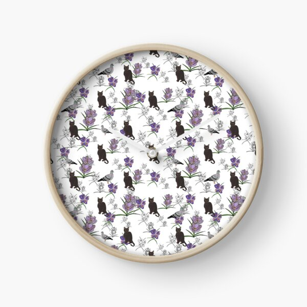 Lilly and the pigeon, black cat and pigeon with purple flowers Clock