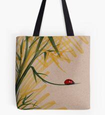 """Take A Chance""  Sumi-e Ink Brush Pen Ladybug Painting Tote Bag"