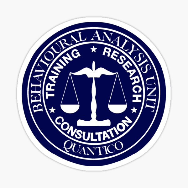 FBI BAU symbol in white writing Sticker