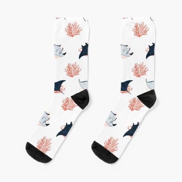 Dance of the Manta ray on white Socks