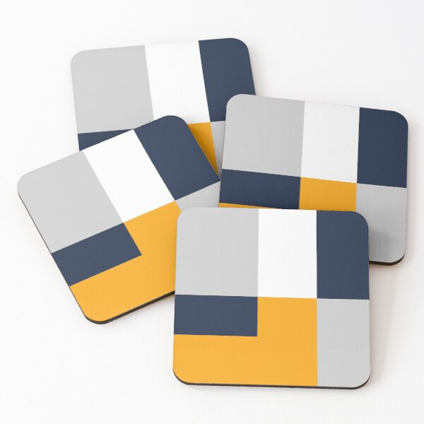 Modern Color Block - Navy, Grey and Yellow Coasters (Set of 4)