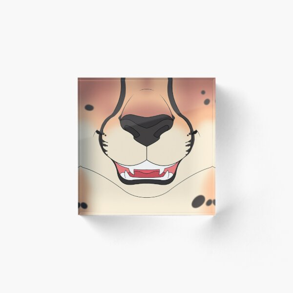 Strawberry Blonde Cheetah Face Acrylic Block
