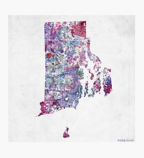 rhode island map cold colors Photographic Print