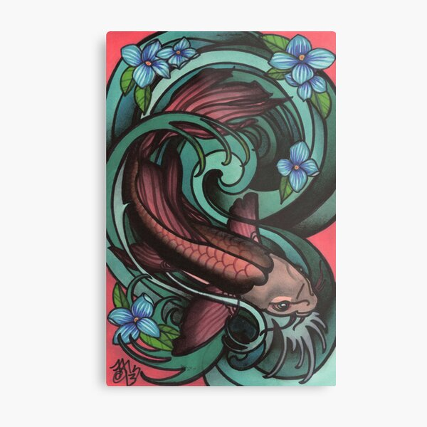 fish in water, with flowers. Metal Print