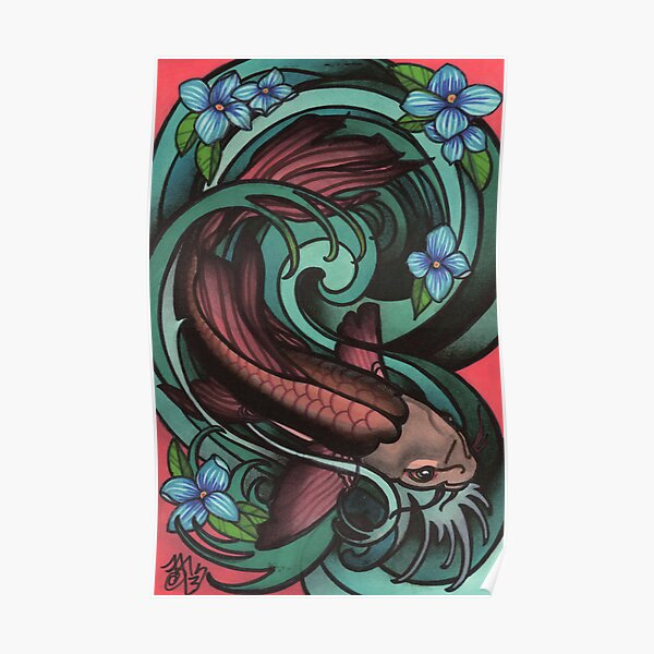 fish in water, with flowers. Poster