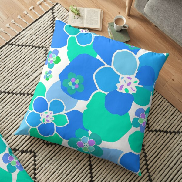 Green, Blue and Purple Retro Flower Pattern Floor Pillow