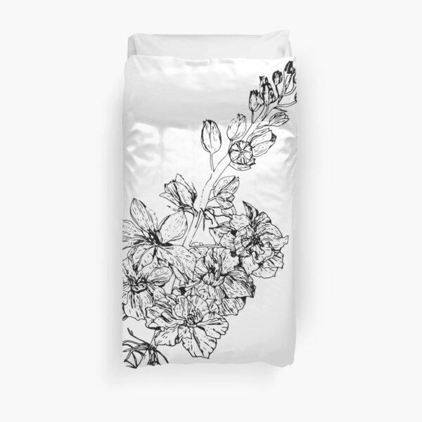 Larkspur July Birth Flower in White Duvet Cover