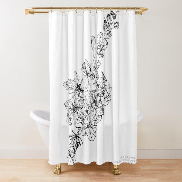 Larkspur July Birth Flower in White Shower Curtain
