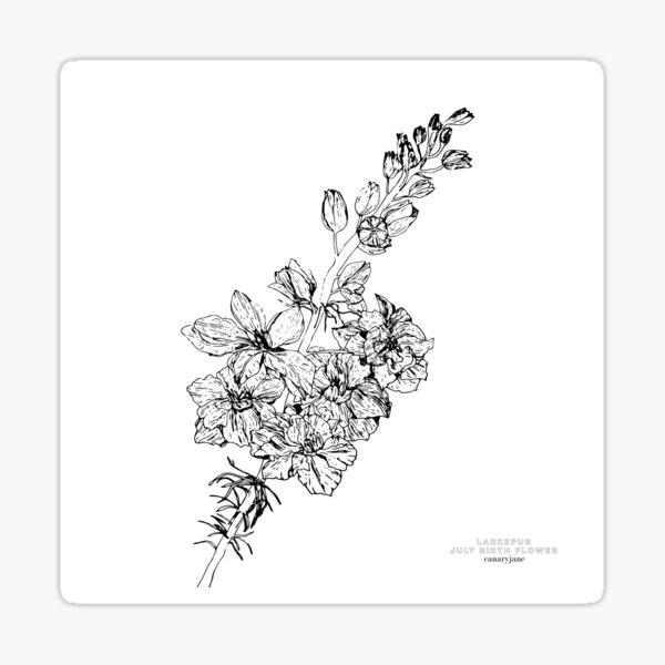 Larkspur July Birth Flower in White Sticker