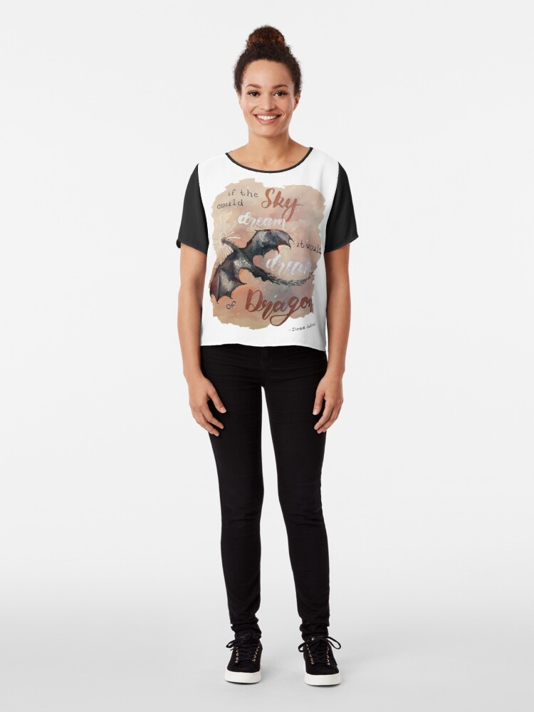 Alternate view of If the sky could dream, it would dream of dragons. by Ilona Andrews Chiffon Top