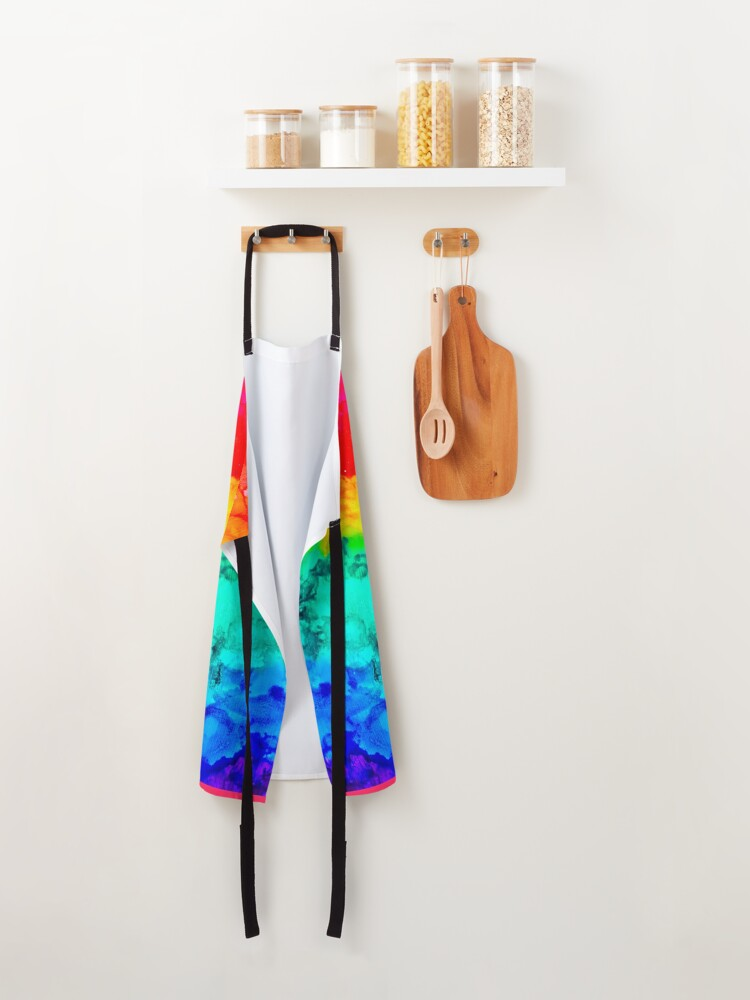 """Alternate view of """"Rainbow Rorschach"""" Alcohol Ink Print Apron"""