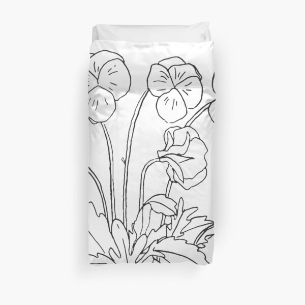 Violet February Birth Flower in White Duvet Cover
