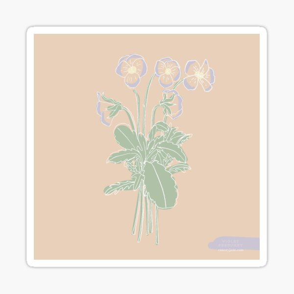Violet February Birth Flower Sticker