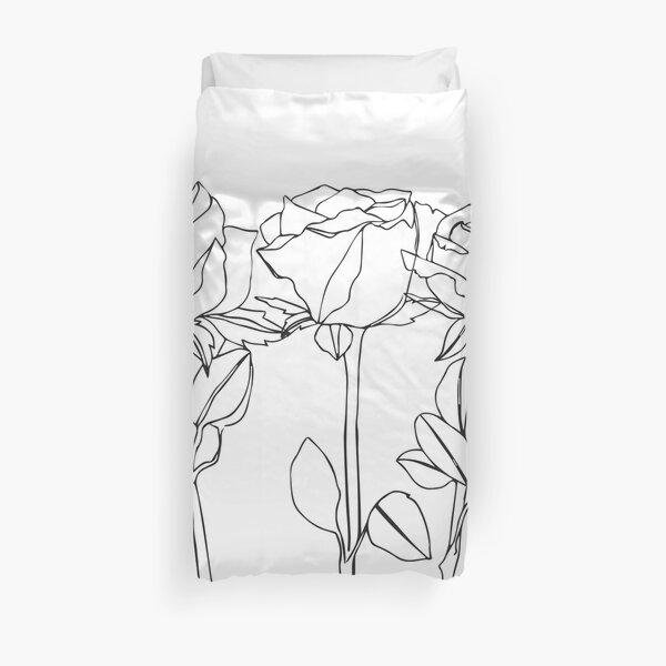 Rose June Birth Flower in White Duvet Cover