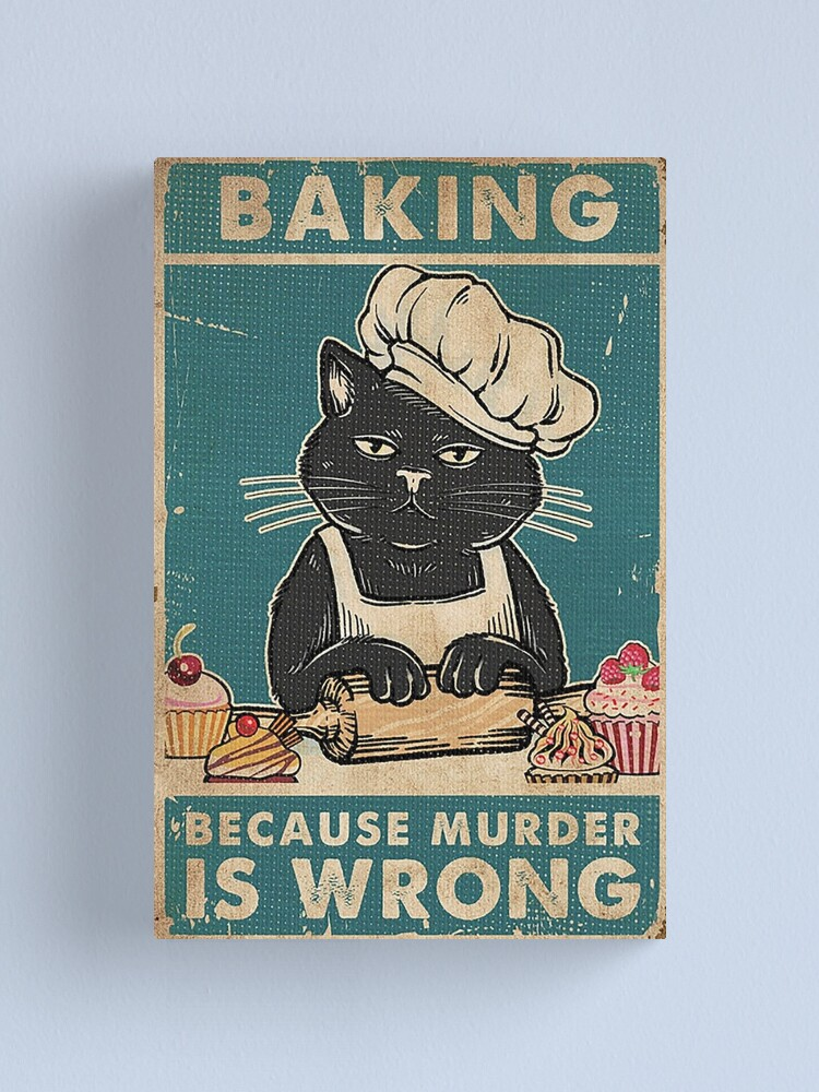 Alternate view of Black Cat Baking because murder is wrong cat lover gifts Canvas Print