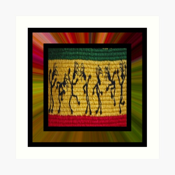 lively reggae dancers (square) Art Print
