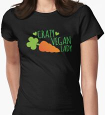CRAZY VEGAN LADY Womens Fitted T-Shirt