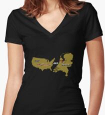 The American and The Dutch 2 Women's Fitted V-Neck T-Shirt