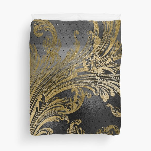 Elegant Black and Gold Flourish Duvet Cover