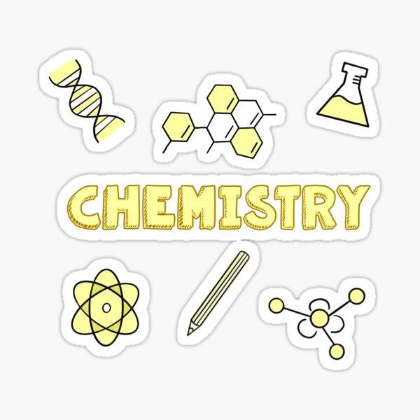 gelbe Chemie Schule Fach Aufkleber Pack Sticker