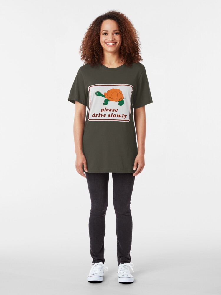 Alternate view of Please Drive Slowly Slim Fit T-Shirt