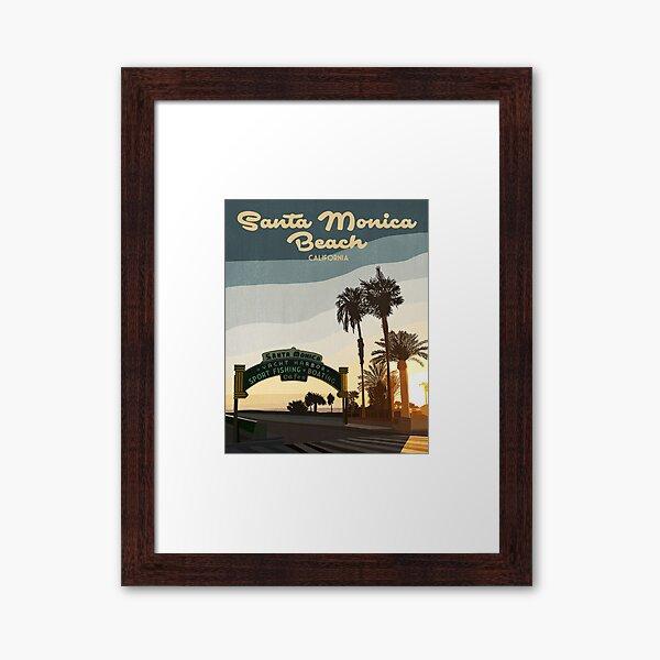 Vintage and Retro Inspired Santa Monica Pier, California Sunset Travel Poster Framed Art Print