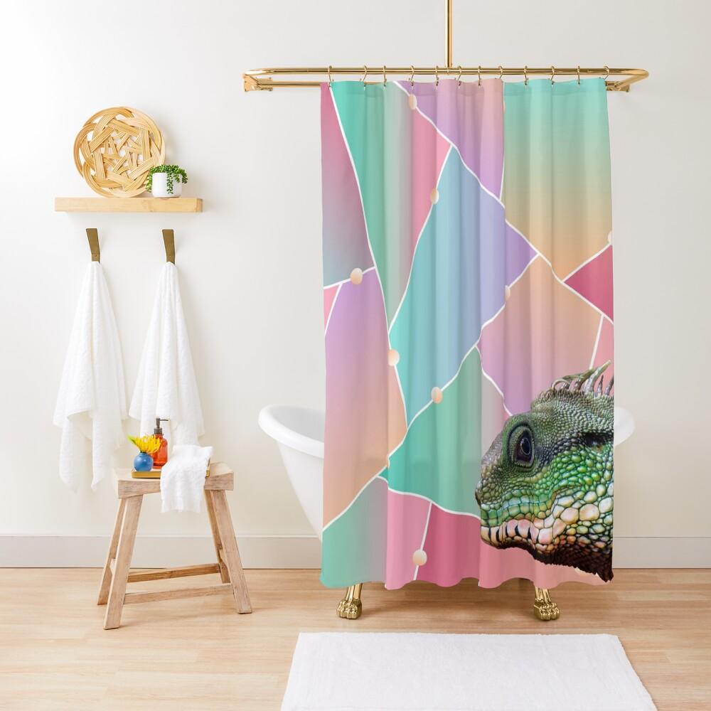 Geometric Pattern Chinese Water Dragon Shower Curtain