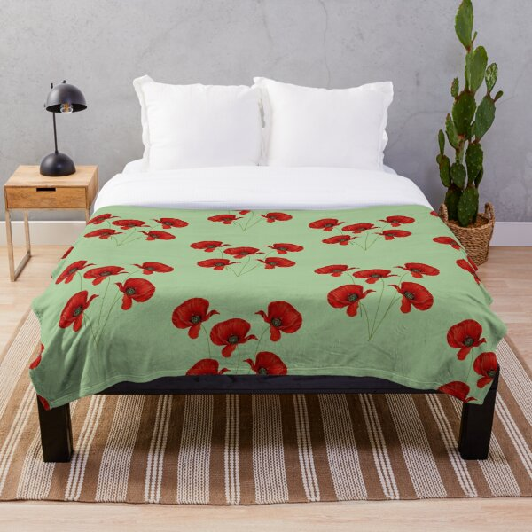 Poppies on a Green Background Throw Blanket