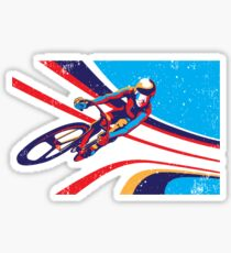 retro track cycling print poster Sticker