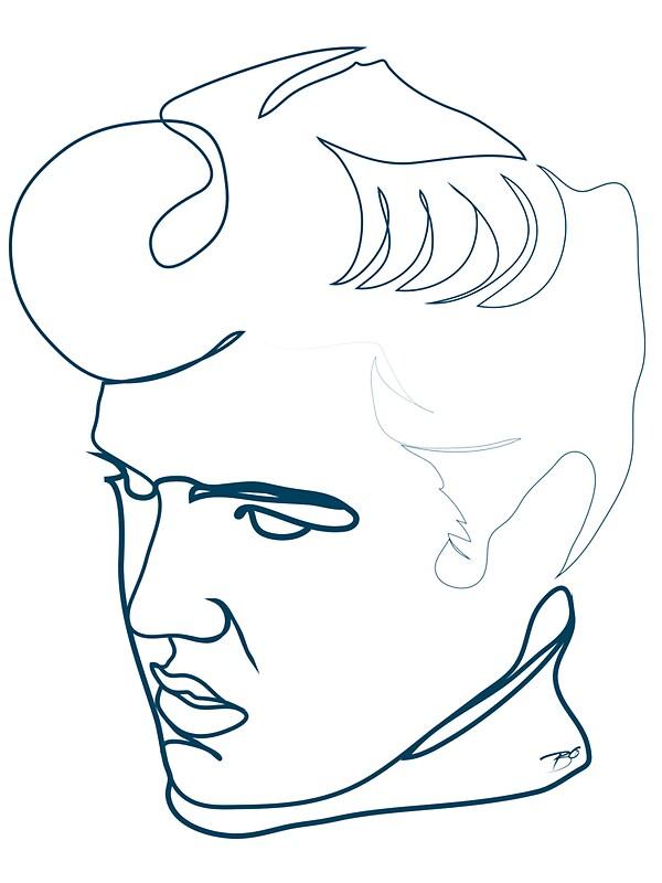 elvis presley one line drawing by borol