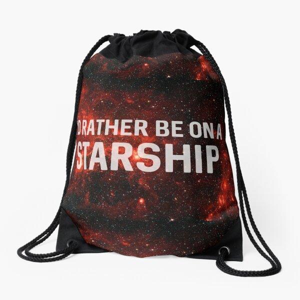 I'd rather be on a starship Drawstring Bag