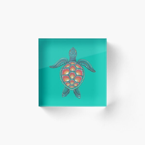 Mandala Turtle Acrylic Block