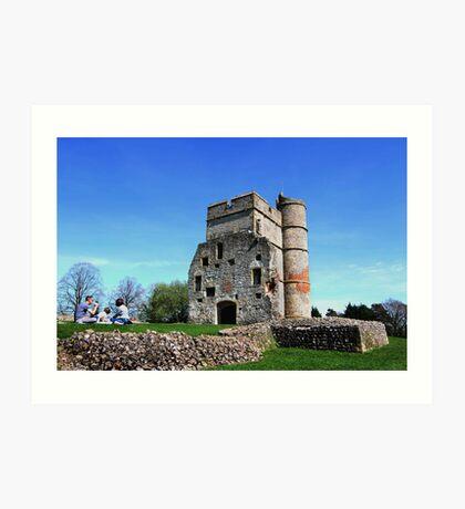 Picnic at Donnington Castle Art Print