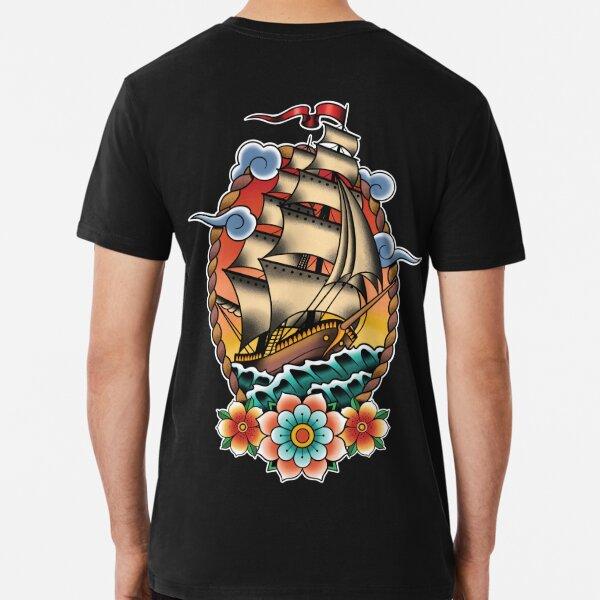 Traditional Tattoo Sailing Ship, Clipper Ship Illustration Premium T-Shirt