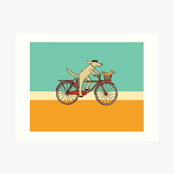 Dog and Squirrel are Friends   Whimsical Animal Art   Dog Riding a Bicycle Art Print