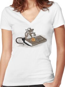 Indiana Mouse Women's Fitted V-Neck T-Shirt