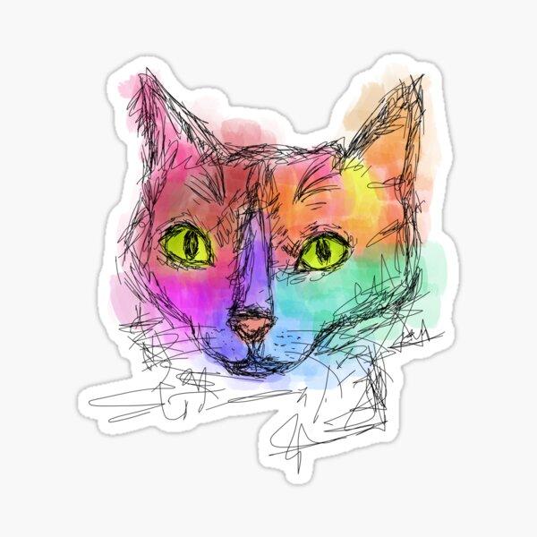 polychromatic cat Sticker