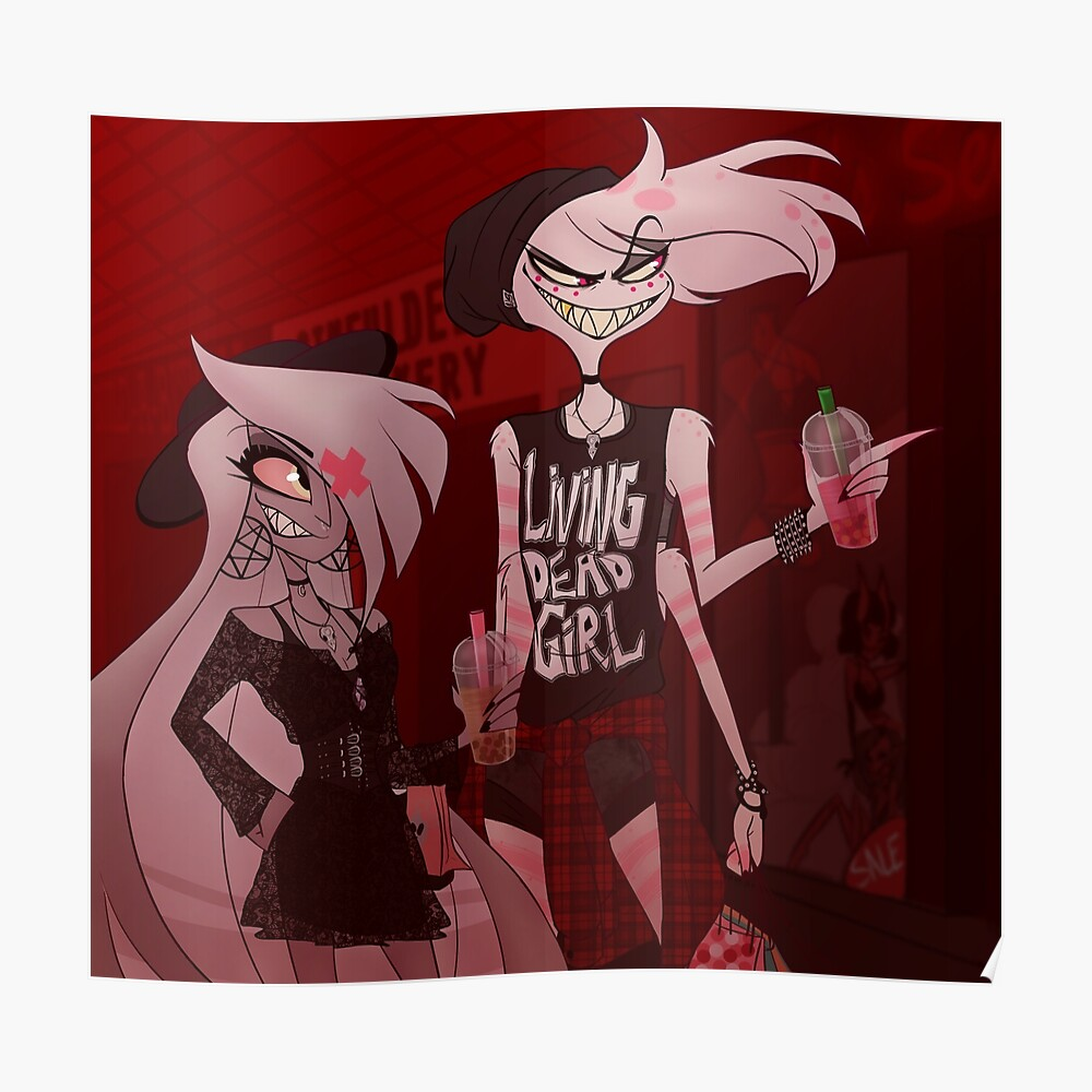 Angel Dust And Vaggie W Background Sticker By Tobisterling Redbubble The restaurant is popular with veggies. redbubble