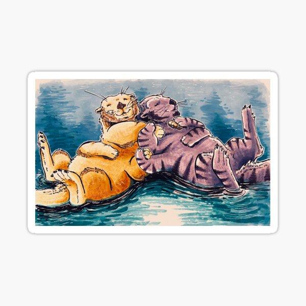 cute space otters Sticker