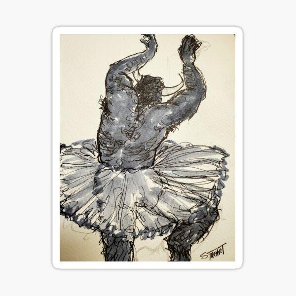 Dancing Minotaur in a Tutu Sticker