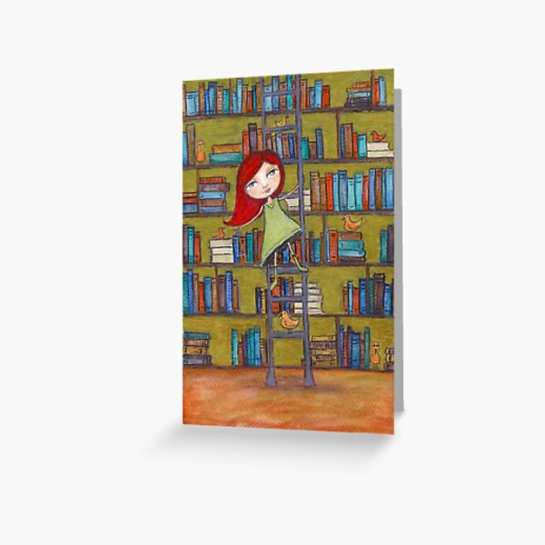 Redhead Library Girl Books and Birds Greeting Card
