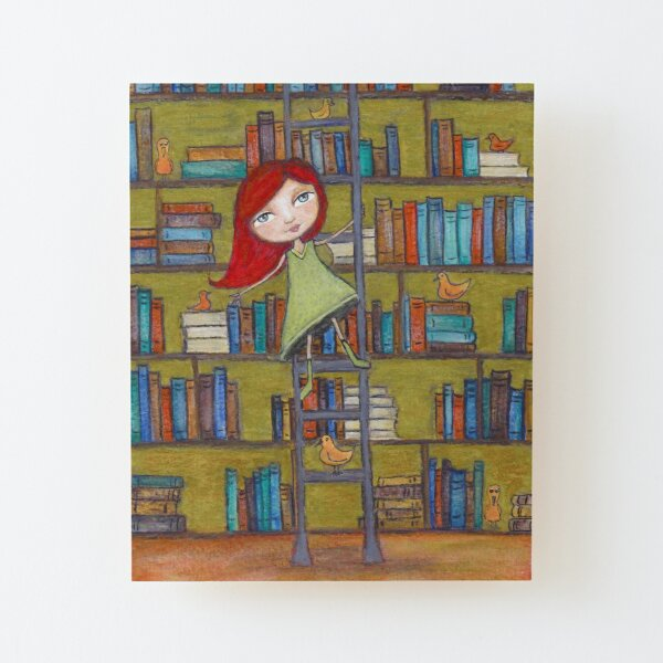 Redhead Library Girl Books and Birds Wood Mounted Print
