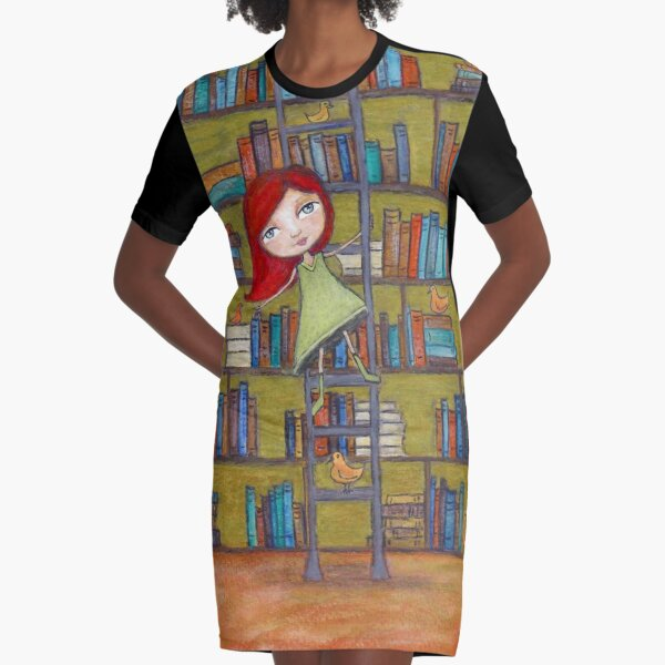 Redhead Library Girl Books and Birds Graphic T-Shirt Dress