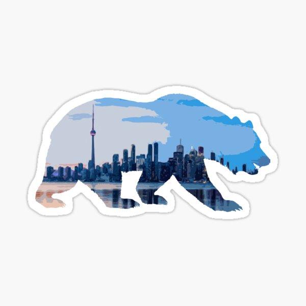 Mountain bear with Toronto skyline Sticker