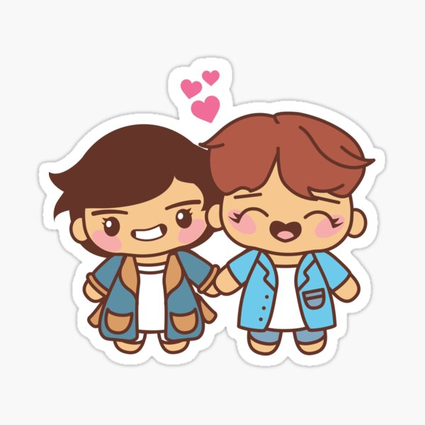Vhope Pajama Party - BTS Taehyung and Hobi in PJ's ~BTS Pajama Party~ Sticker