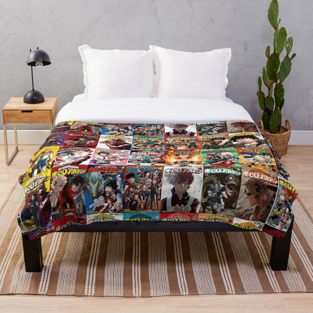 My hero academia Cover Collage Throw Blanket