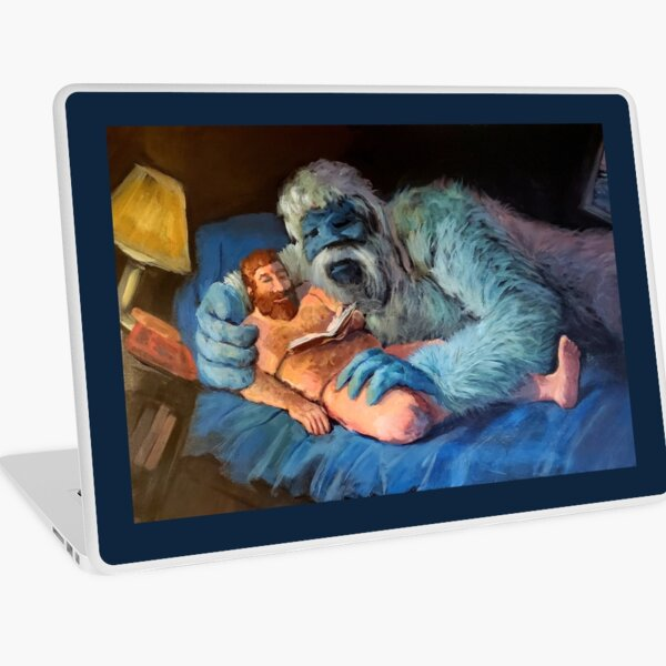 Yukon and Bumble in Bed, Reading Laptop Skin