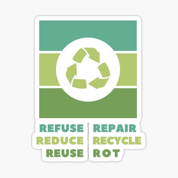Refuse Reduce Reuse Repair Recycle Rot Sticker