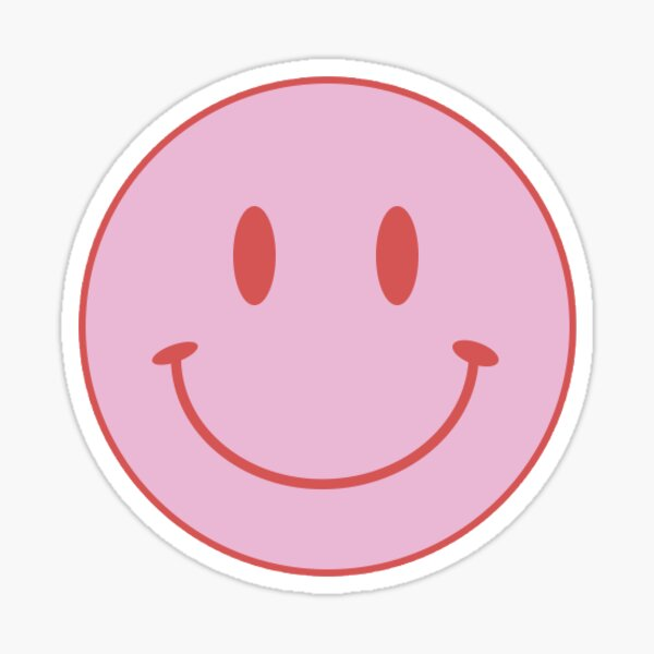 Cara sonriente - rosa y rojo Pegatina